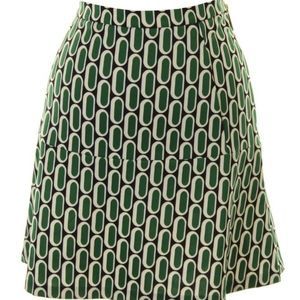 Michael Kors Geometric Print Skirt Green Size 6